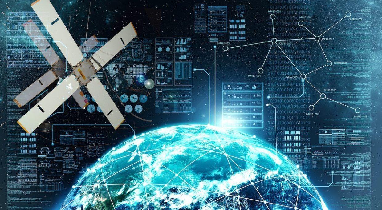 Image: Earth overlaid with futuristic text