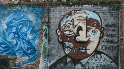 Image: Graffiti of a cubist style painting of a face