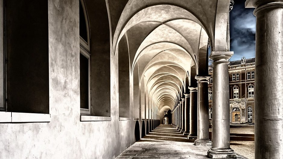 Image: View down long pillared hallway (towards a new generation of history keeping)