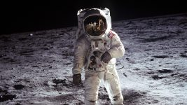 Image: Buzz Aldrin in a spacesuit standing on the moon