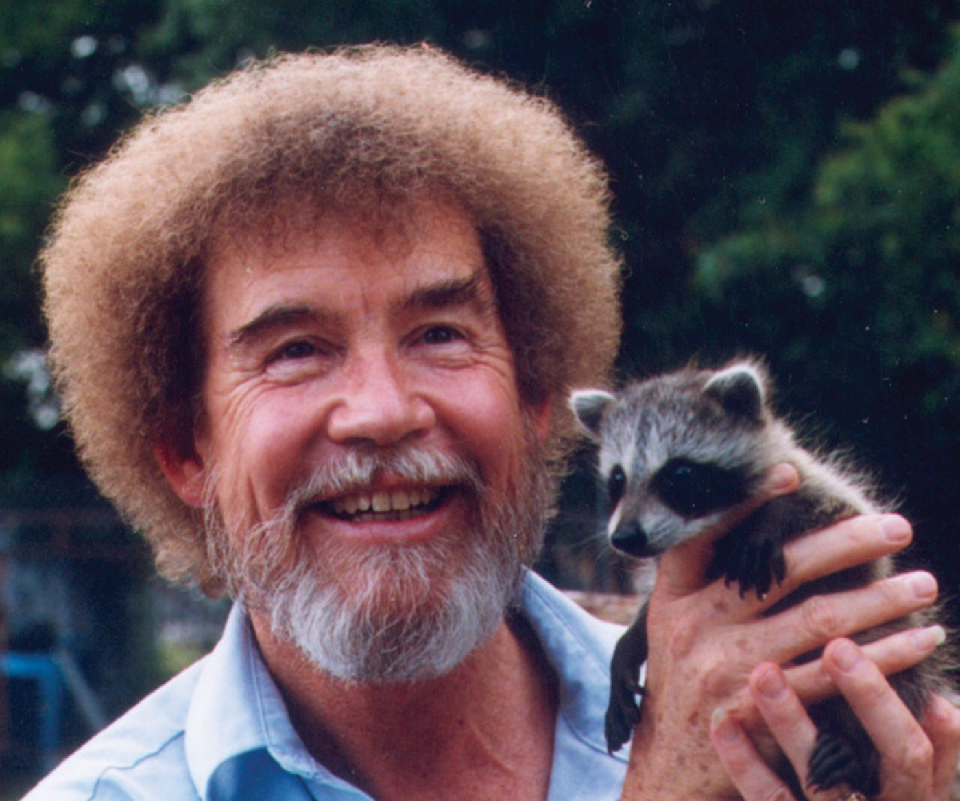 Image: Bob Ross holding a baby racoon