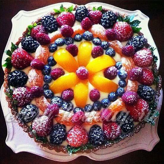 Как украсить торт фруктами в домашних условиях, фото пошагово