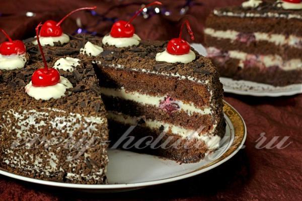 """Торт """"Черный лес"""", рецепт с фото пошагово в домашних условиях"""