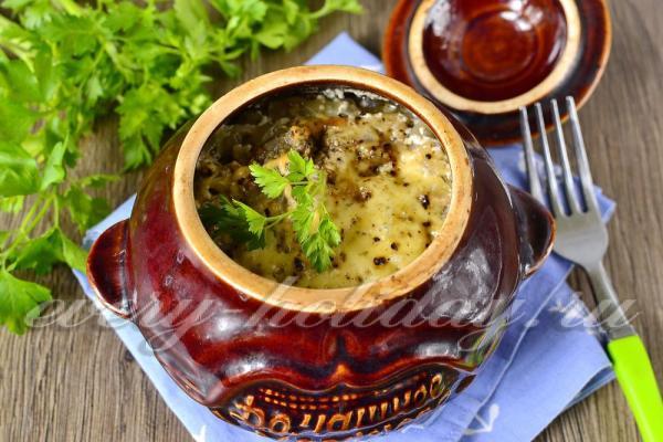 Курица в горшочках с картошкой и грибами в духовке, рецепт ...