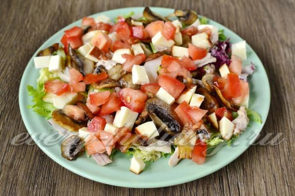 Салат с курицей и грибами: рецепт с фото