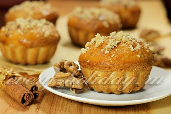 Маффины с орехами: рецепт с фото
