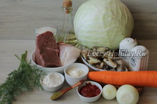 Голубцы по-закарпатски с мясом, рисом и грибами, рецепт