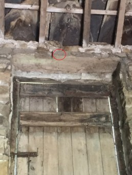 Carpenters marks circled in red with joint to left of them, Willy Greens cowhouse