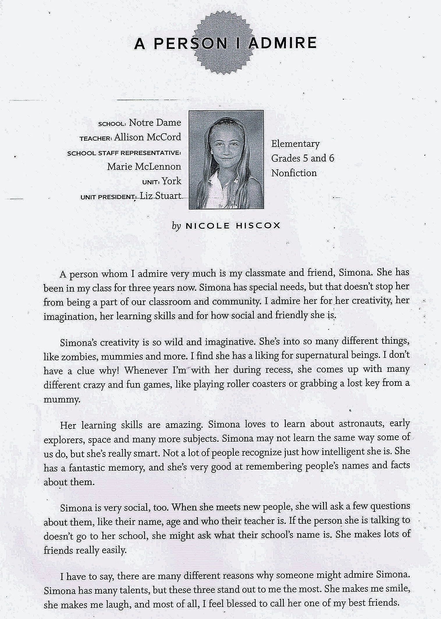 nicky you re someone we admire everybody is aok a person i admire middot here s a link to a pdf version of the ontario english catholic teachers association 2014 young authors awards book