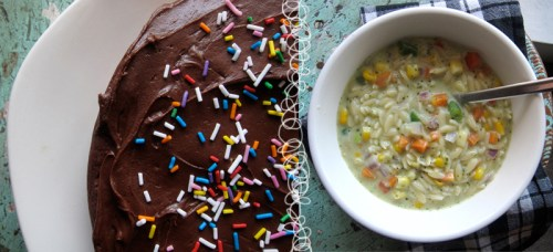 cakes + orzo = complete satisfaction