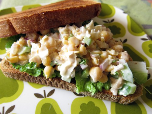 smashed chickpea lemon salad sandwich