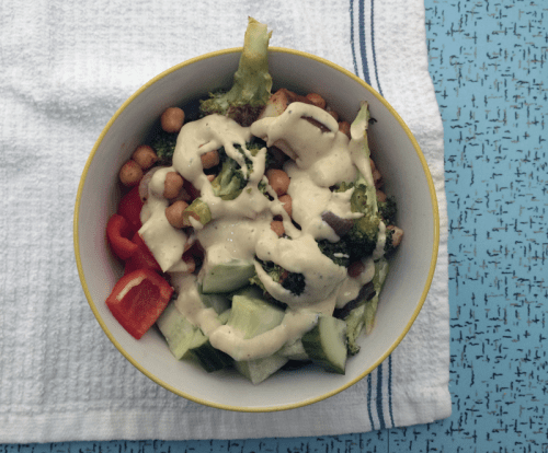 chickpea veggie bowl with lemon tahini dressing | everybody likes sandwiches