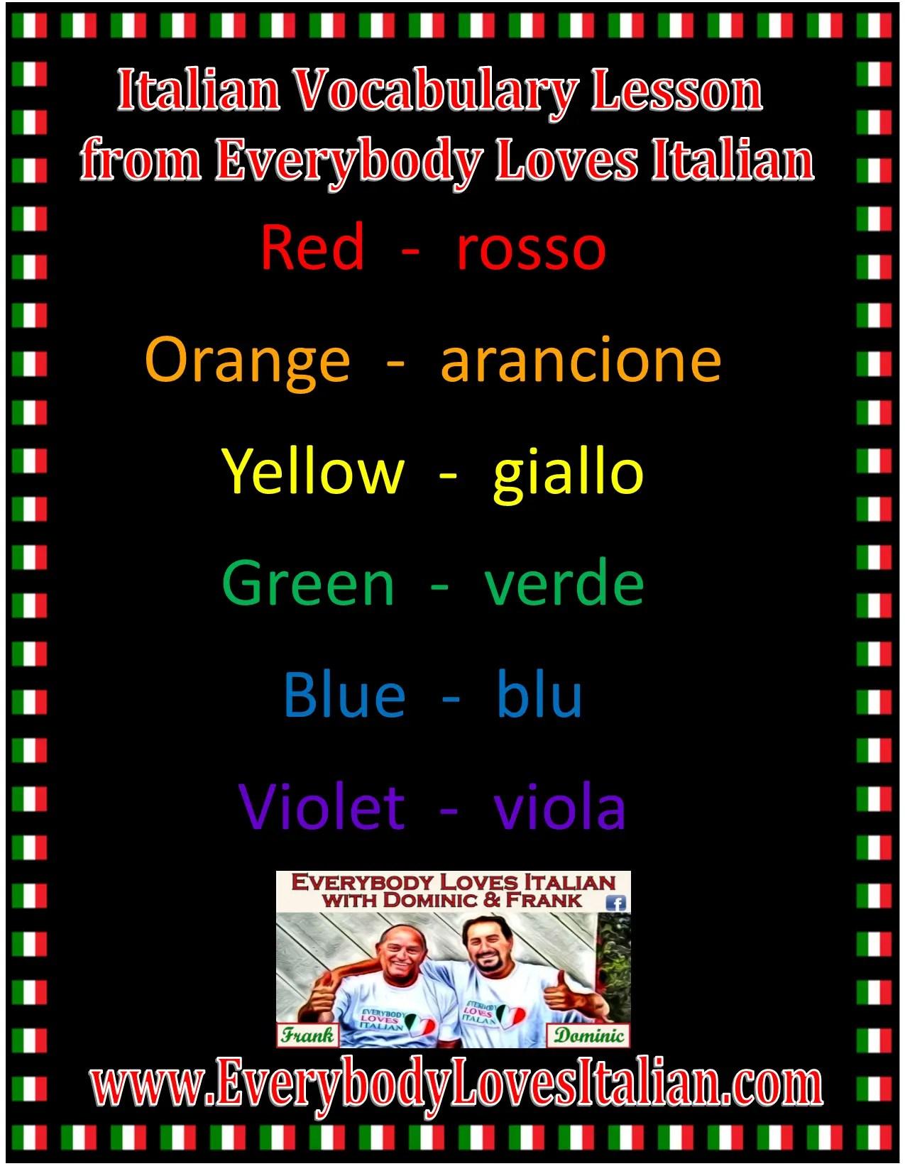 Italian Vocabulary Lesson Colors