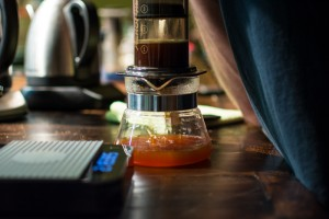 Pressing coffee through an AeroPress
