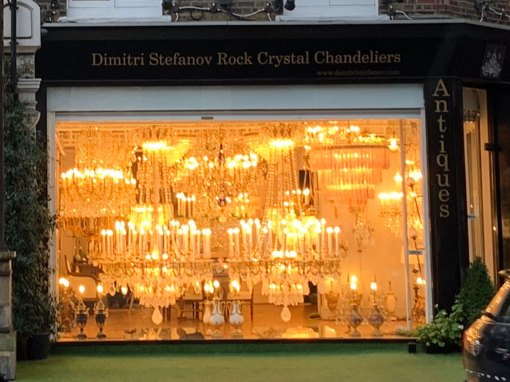 Chelsea is renowned for its many unique shops. We passed by stores dedicated to doorknobs, faucets as well as this glowing chandelier shop.