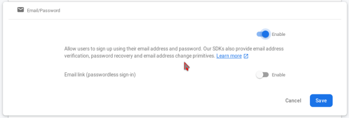 """screenshot of firebase email/password authentication provider settings. """"Enable"""" button is hightlighted"""