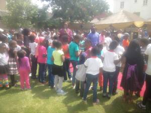 Audu Ogbeh, Olujimi  teach children to plant seeds, party out