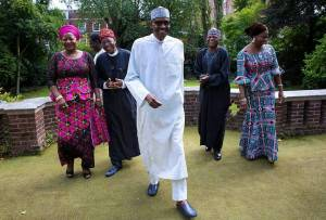 Buhari in another photo op with media team as Nigerians await return