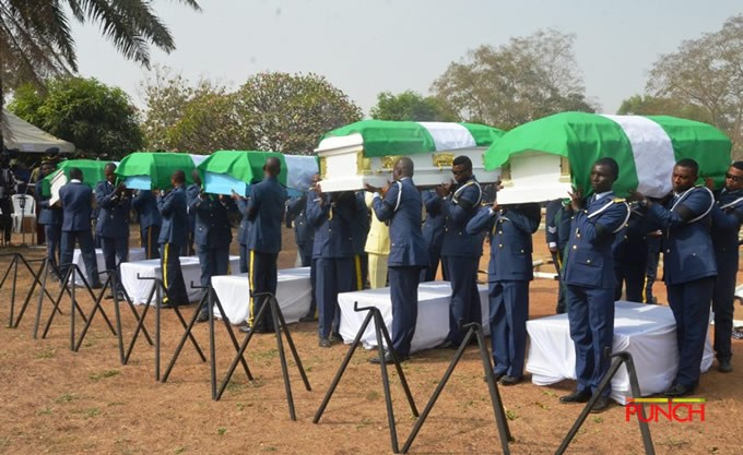 Helicopter crash: NAF buries remains of crew in Abuja; pounds insurgents in Auno
