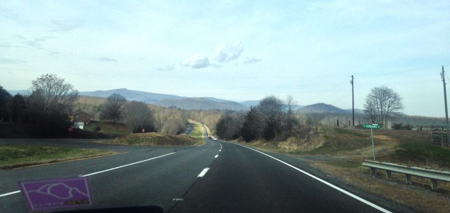 driving toward the mountains