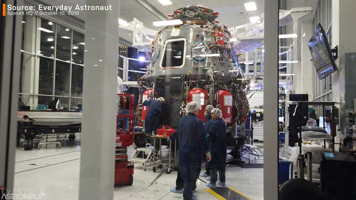 Crew Dragon clean room SpaceX inside HQ