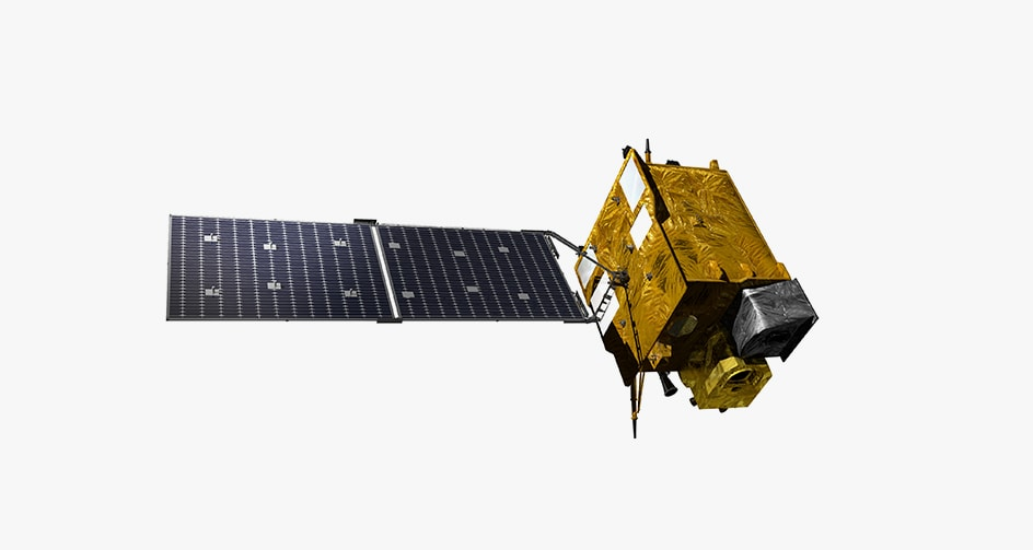 GEO-KOMPSAT2B depicted in Earth orbit. It is flying over the ocean looking down on East Asia.