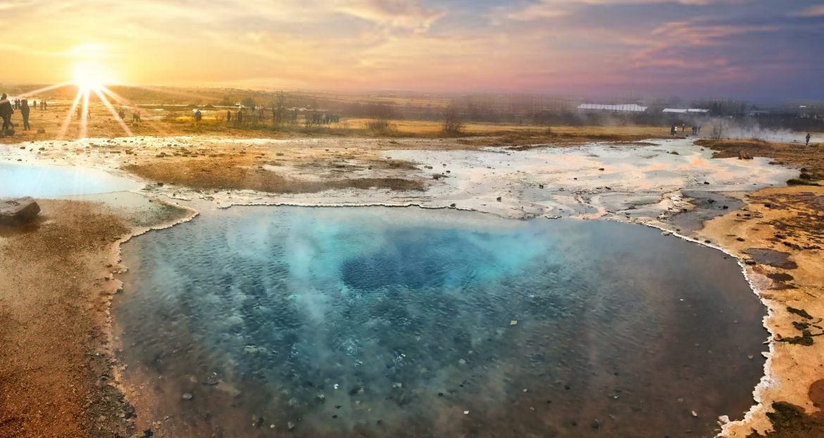Strokkur Geyser, located in the Golden Circle, erupts every 5-10 minutes! Here's. picture of the crystal clear water taken during sunset, just before an eruption.