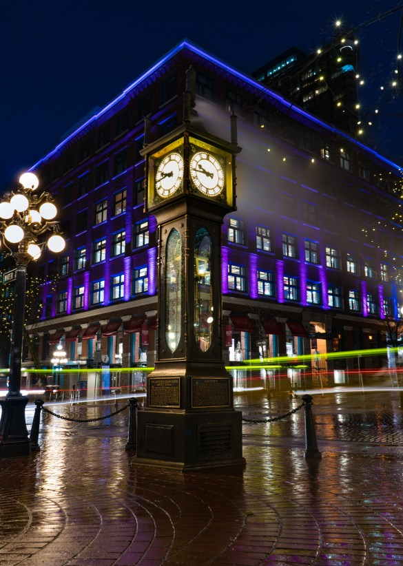 Gastown Steamclock, Vancouver Night Photography, Canada Photography