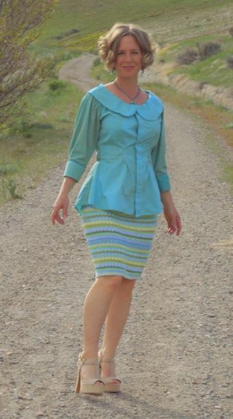 peter pan blouse refashion, dyed