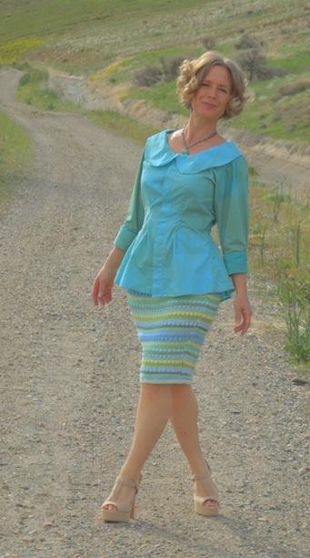 striped pencil skirt refashion