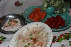 Chicken Scratch, LLC- Bacon Dip and Sundried tomato dip with veggies