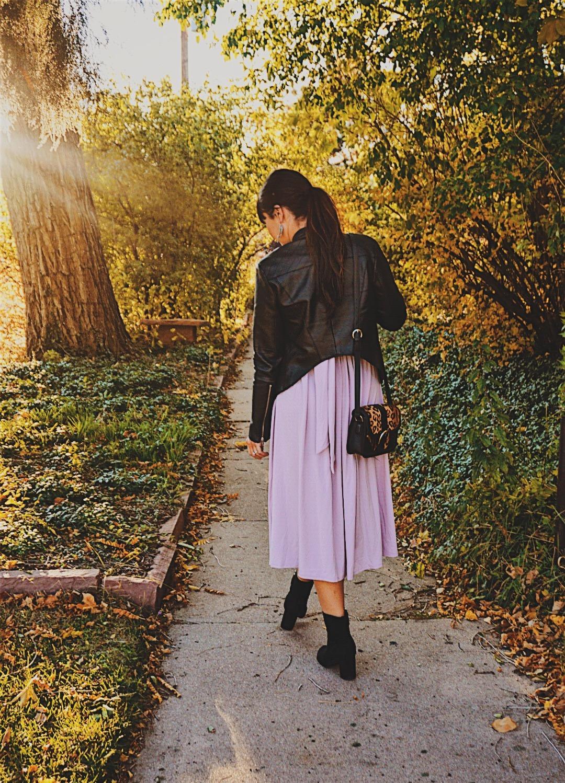 Lilac ASOS Dress / Winter Wedding Look / Leather Coat Layered Lilac Dress