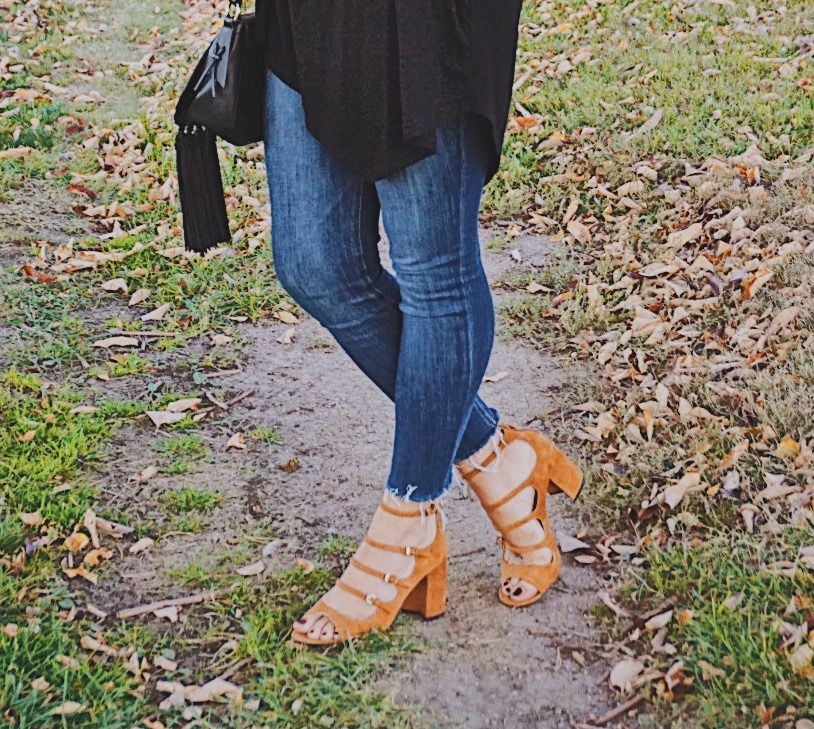 Positive Daily Reminders / Fall Casual Look / Strappy High Sandals / Cole Haan Shoes