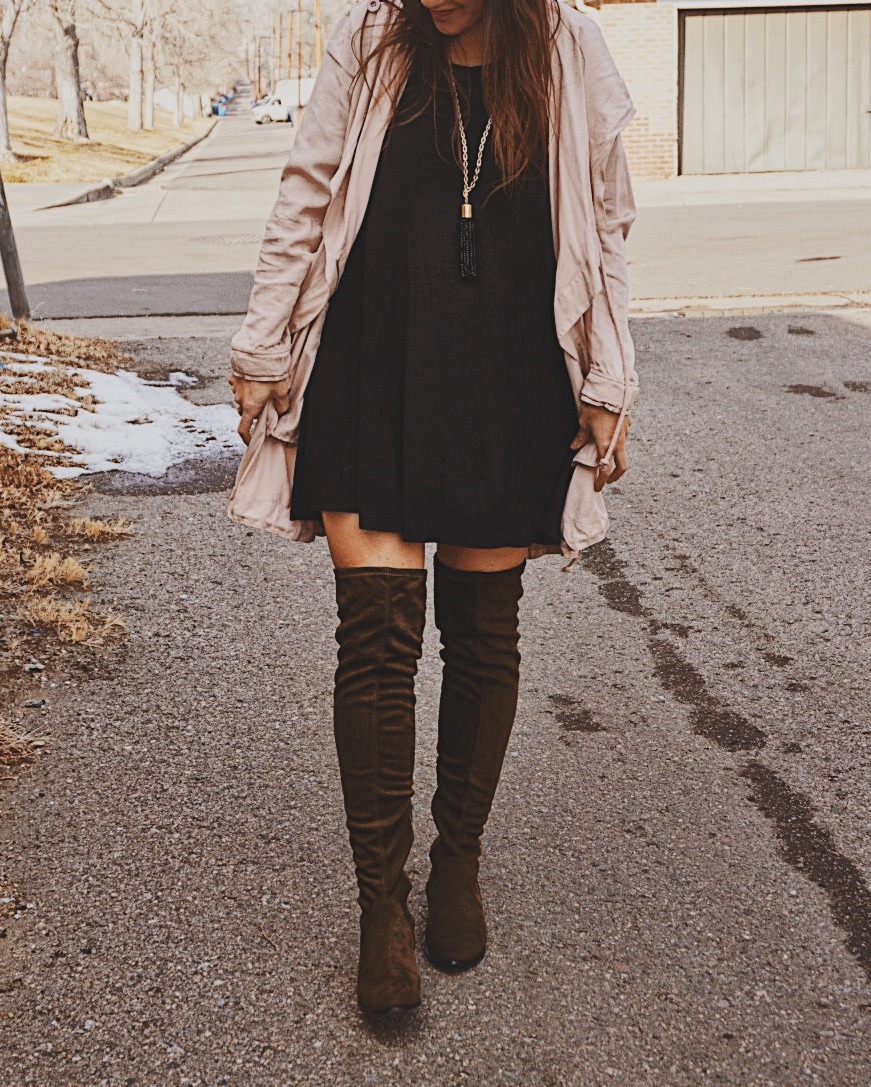 Over The Knee Boots   Suede Over The Knee Boots   Must Need Winter Boots   Suede OTK Boots   T-shirt Swing Dress