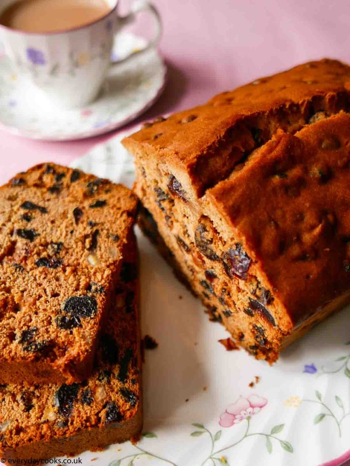 2 slices of Everyday Fruit Cake on