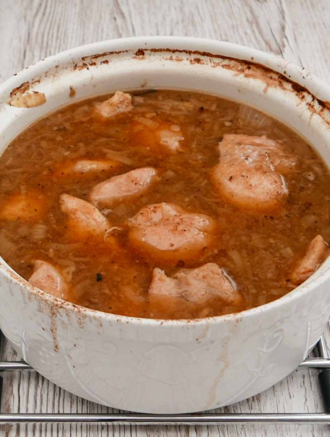 Basic Chicken Casserole in a large white china pot.