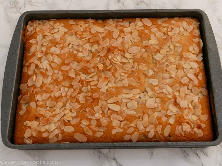 Cherry and almond traybake in the tin