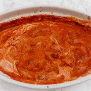 Paprika chicken casserole - chicken and roasted red peppers in a rich tomato sauce with soured cream