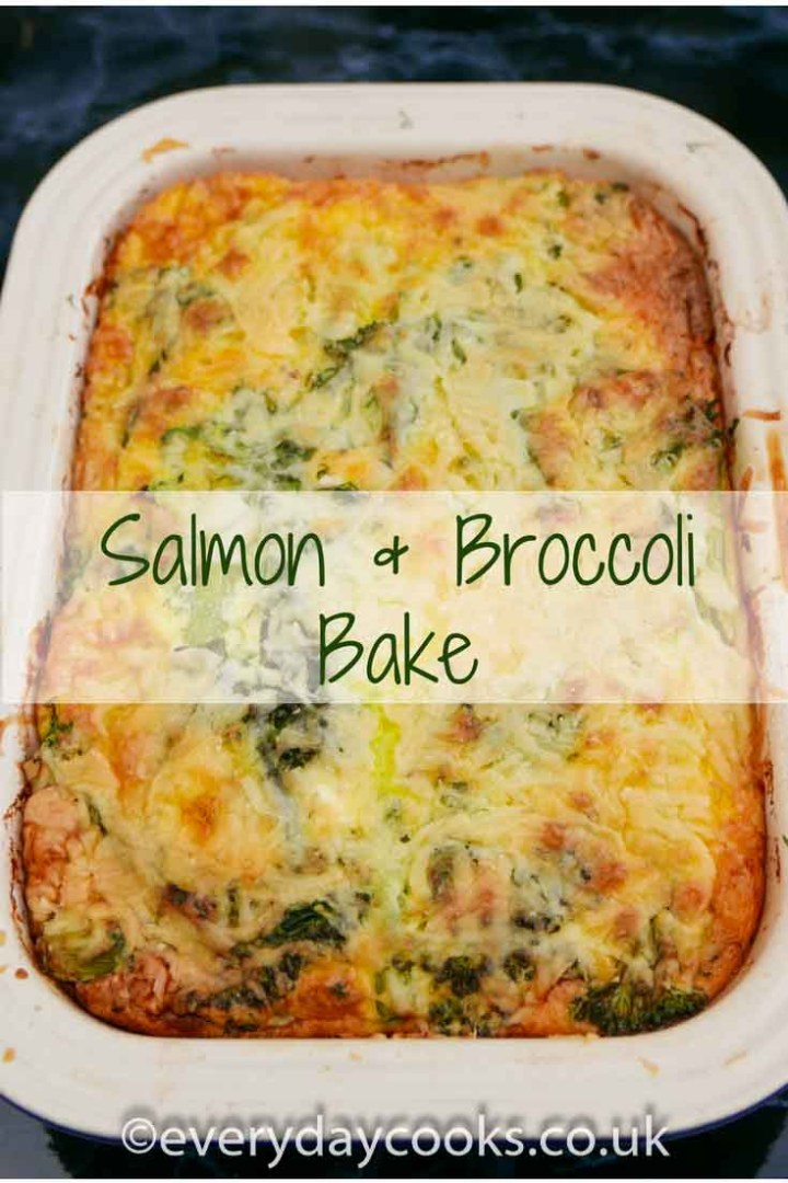 Salmon and Broccoli Bake in a gratin dish