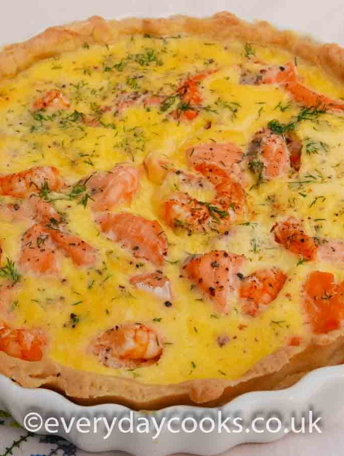 A whole Salmon and Prawn Quiche