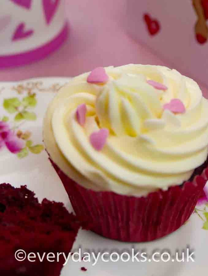 Red Velvet Valentines Cupcakes on a plate