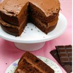 Easy Chocolate Fudge Cake on a white plate with a piece on a flowered plate
