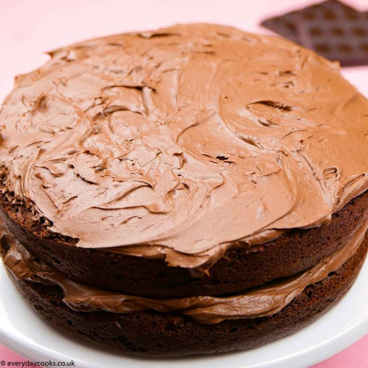 Easy Chocolate Fudge Cake on a white plate