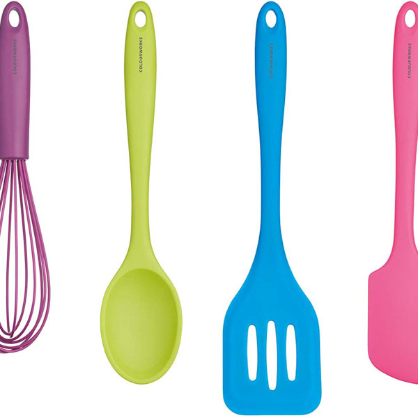 Brightly coloured silicone kitchen utensils