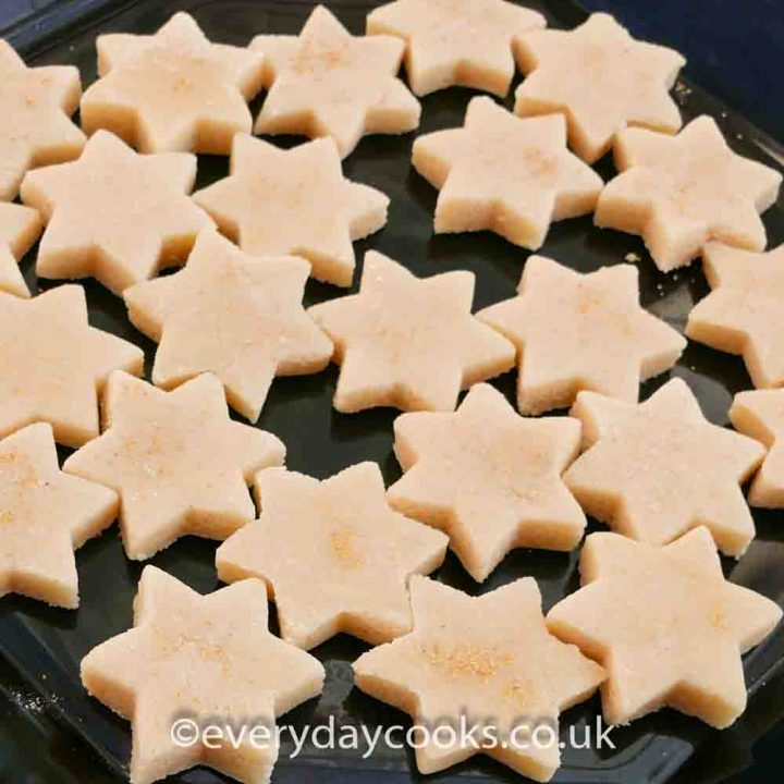Marzipan Stars on a black plate