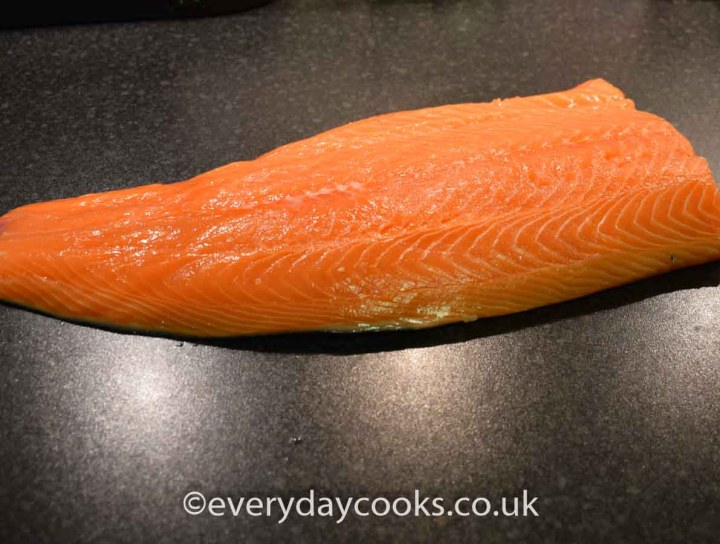Uncooked side of salmon