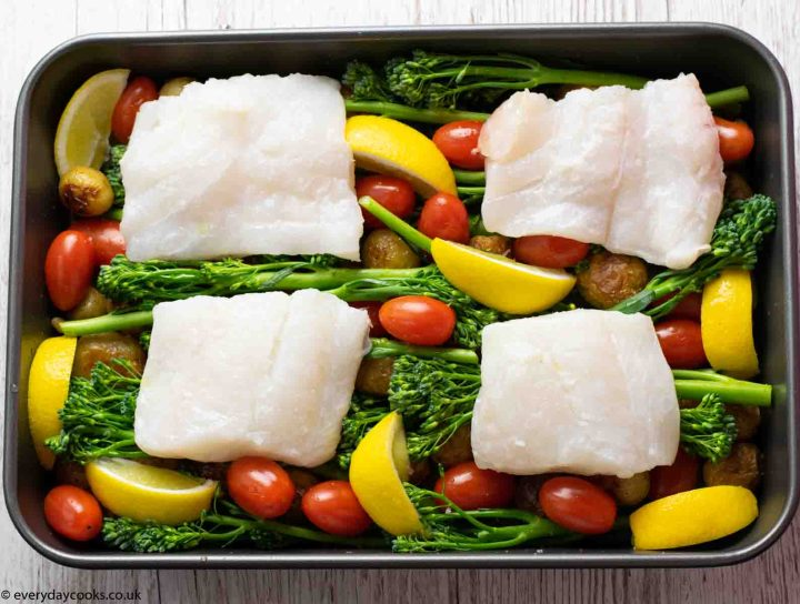 Easy Cod Traybake ready for the oven