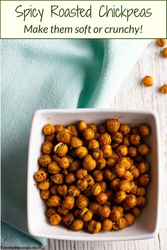 Spicy Roasted Chickpeas in a white bowl on a blue cloth