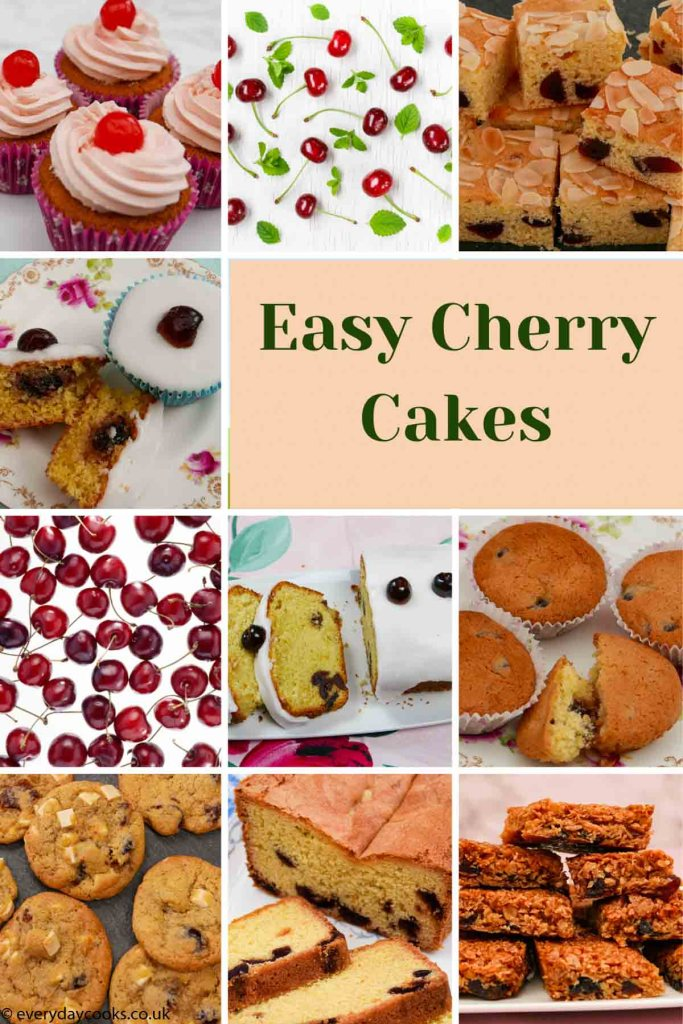8 different cherry cakes and pictures of cherries