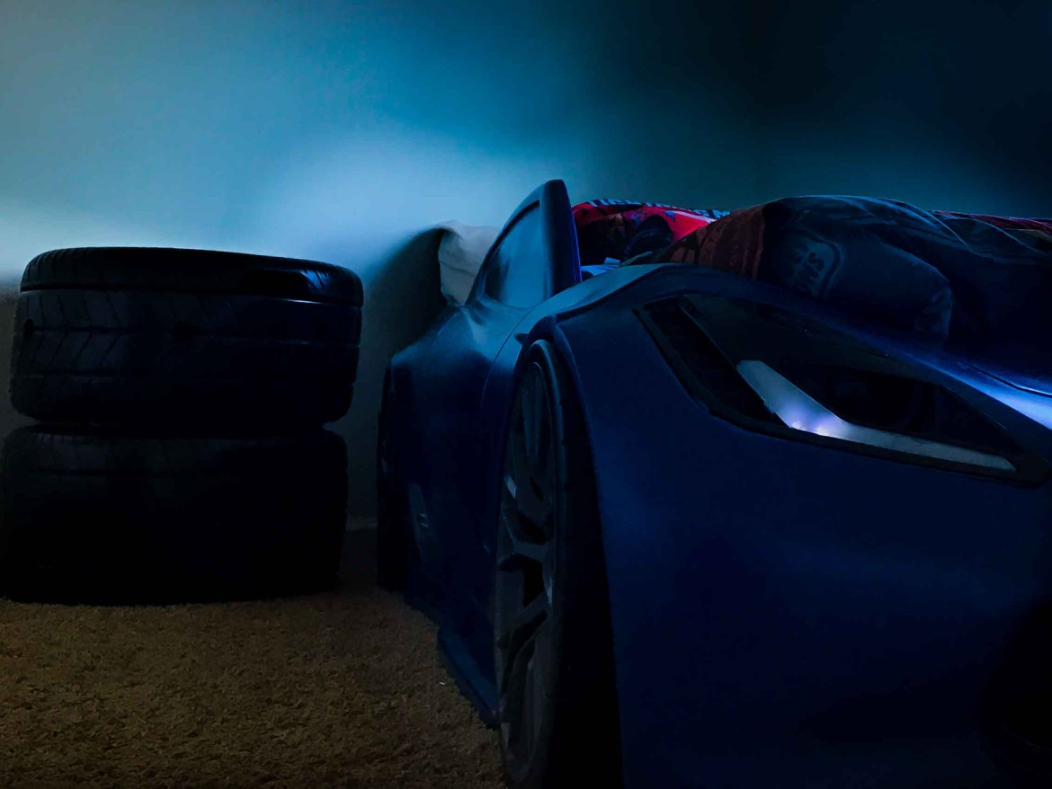 Blue Race Card Bed At Night